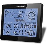 Excelvan Wireless Stazione Meteo Professionale con Velocità del Vento e Pioggia, Radiosveglia, Temperatura, Umidità, Barometro, Fase lunare
