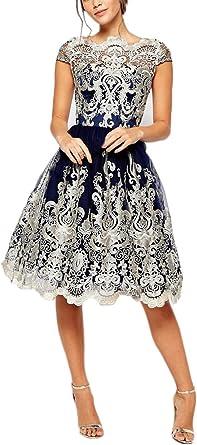 Las Mujeres Vestidos De Fiesta para Bodas Novia Cortos Vestir Vintage Elegantes Una Línea con Volantes Vestido De Noche Coctel Manga Corta Rockabilly Años 20 Bonita Ceremonia Bordado Dress: Amazon.es: Ropa y