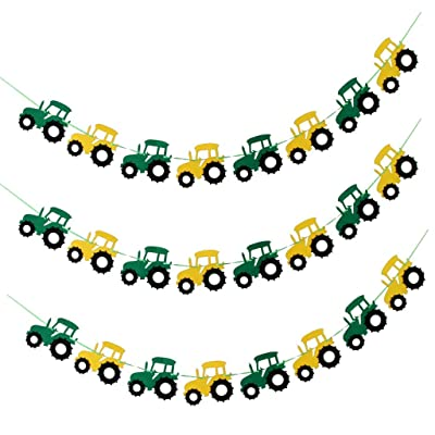 3pcs Tractor Banner Felt Bunting Banner Garland Sign Baby Shower Boy Birthday Party Indoor Outdoor Decor: Toys & Games