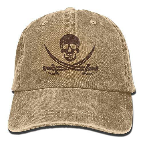 47559a3e1f2 Jolly Roger Pirate Skull Crossed Swords Adult Cowboy Baseball Caps Denim  Hats for Men Women Natural