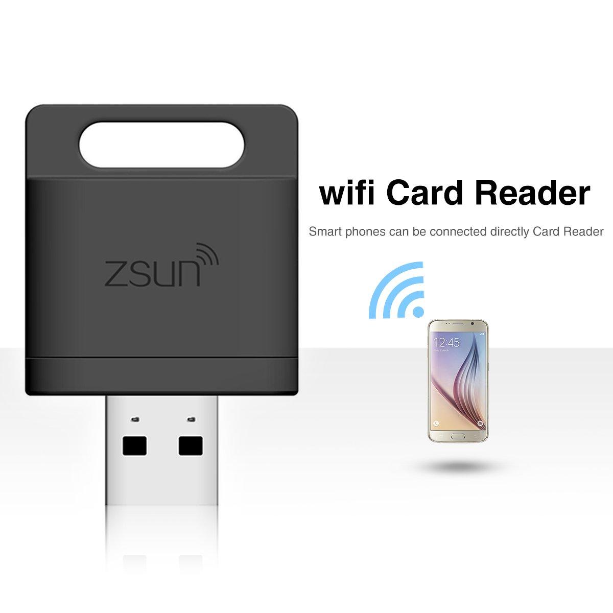 zsun lector de tarjetas WIFI Extensor de memoria flash drive de almacenamiento para iOS, Android y Windows de expansión de inalámbrica sistema negro negro: ...