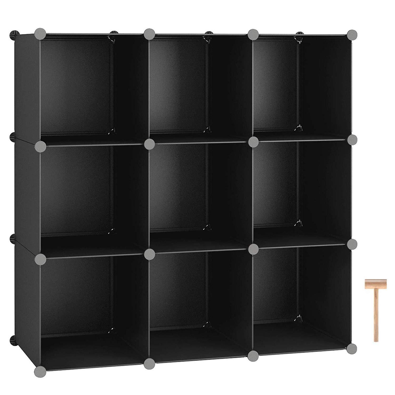 "C&AHOME Cube Storage, 9-Cube Shelves Organizer Unit, DIY Bookshelf, Plastic Closet Cabinet, Modular Bookcase Ideal for Bedroom, Living Room, Office, 36.6""L x 12.4"" W x 36.6"" H Black"