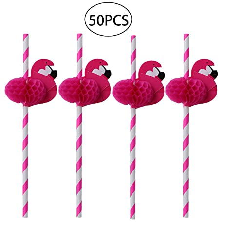 3ff33f9541f6e LUOEM Flamingo Paper Drinking Straws Hawaiian Party Table Decor BBQ  Decorative Drinking Straws for Wedding Birthday