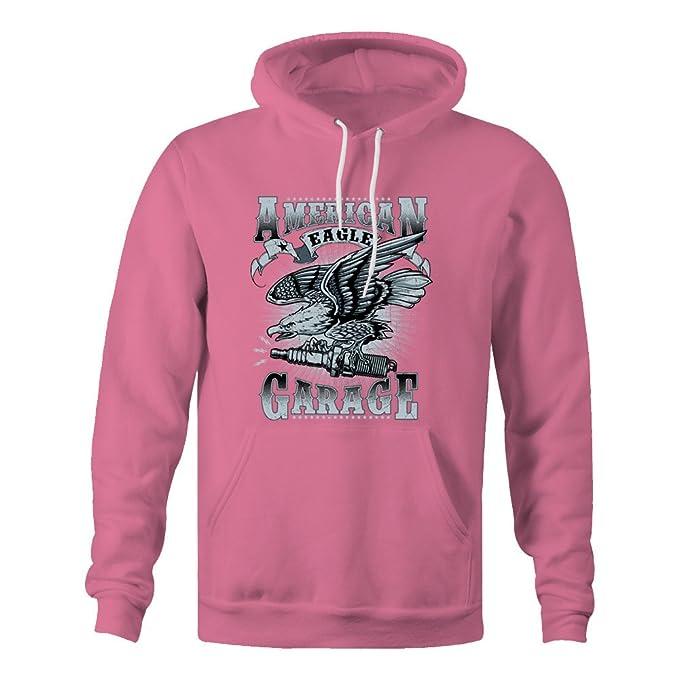Merch Kingdom American Eagle Garage Hoodie - Pink - Small: Amazon ...