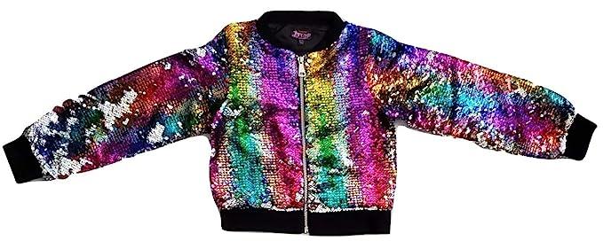 09c479c5d Girls JoJo Siwa Rainbow Flip Sequin Bomber Jacket (Medium 7-8)