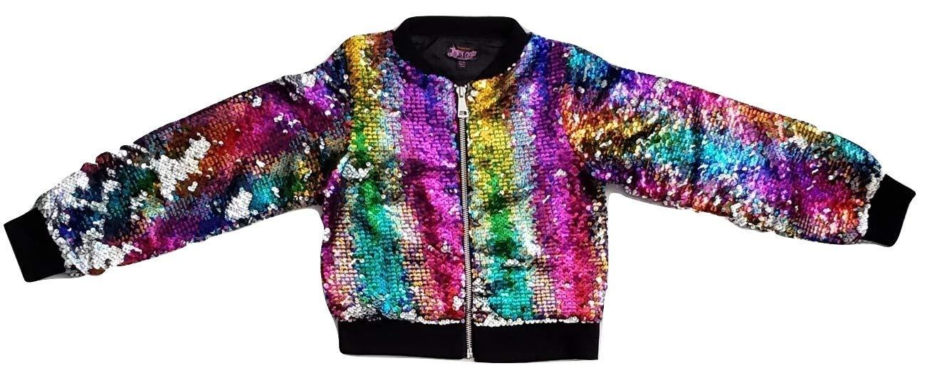 Girls JoJo Siwa Rainbow Flip Sequin Bomber Jacket (X-Small 4-5)