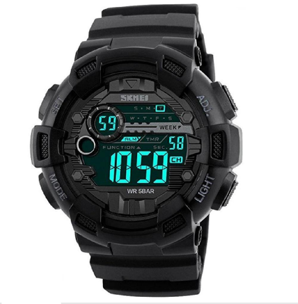 SKMEI Men Sports Watches 50M Waterproof Back Light LED Digital Watch (Black)