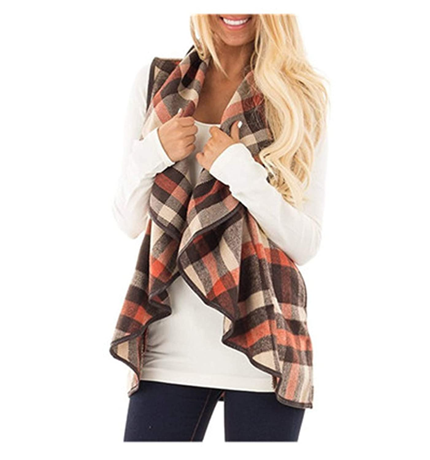 Rick Rogers Fashion Vest Winter Basic Coat Women Coats Jackets Plaid