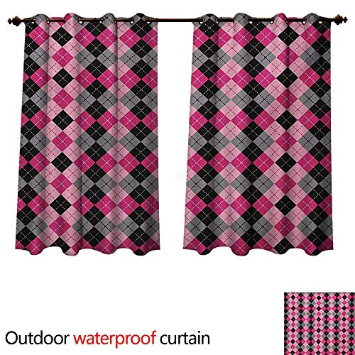 (WilliamsDecor Abstract Outdoor Curtains for Patio Sheer Argyle Motif with Diamonds and Lozenges Infinite Symmetric Stripes Image W55 x L45(140cm x 115cm))