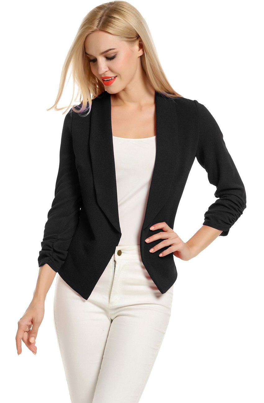 Women's Autumn Oversize Slim Fit Lapel Suit Coat Jacket Blazer Outwear (L, Black)