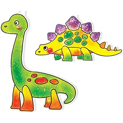 AMOS Korean Suncatcher Mini Stained Glass Kit for Kids (6 Dinosaurs and 6 Color Paints) Sun Decor Accessory Easy Boundary Paint: Toys & Games