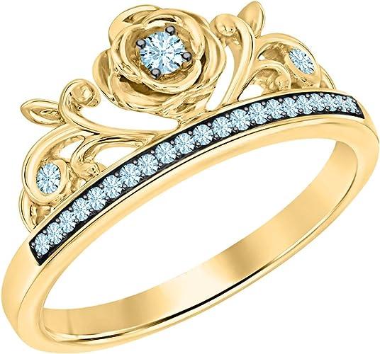 SVC-JEWELS Round Cut Aquamarine 14K Rose Gold Plated Rose Tiara Princess Ring