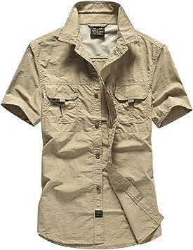 Guiran Militar Camisas para Hombre Secado Rápido Verano Outdoor Manga Corta Suelto Camiseta: Amazon.es: Deportes y aire libre