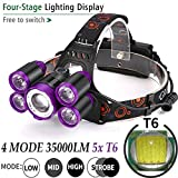 LED Headlamp Super Bright 35000LM 5X XM-L T6, 4 modes Rechargeable Head Torch Light, Great for Hiking, Camping and Daily Activities (Battery not Included) (Purple)