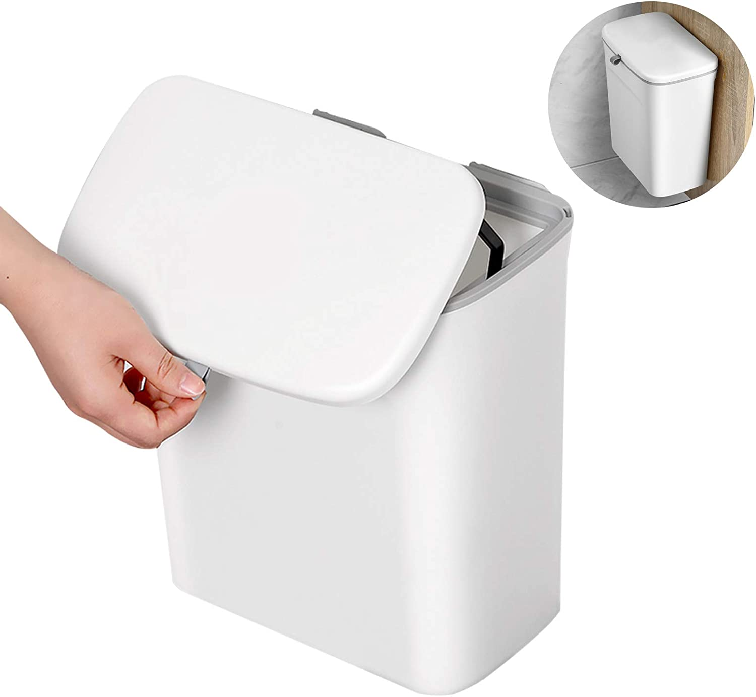 BOOMJOY Hanging Trash Can, Under Sink Trash Can with Slide Lid, Cabinet Door Mounted Compost Bin for Kitchen, Car, Bathroom, Bedroom, Office, Laundry Rooms, Baby Diaper Pail, 2.3Gallon, White