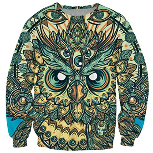 Jacket Crew Track (Sweatshirt Fashion Painting Owl 3D Crewneck Streetwear Tracksuit Outfits M)
