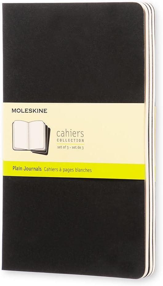 Moleskine Cahier Journal (juego de 3 cuadernos con páginas en blanco, cubierta de cartón y bordado de algodón, bolsillo de 9 x 14 cm, 64 páginas), rosa cinético