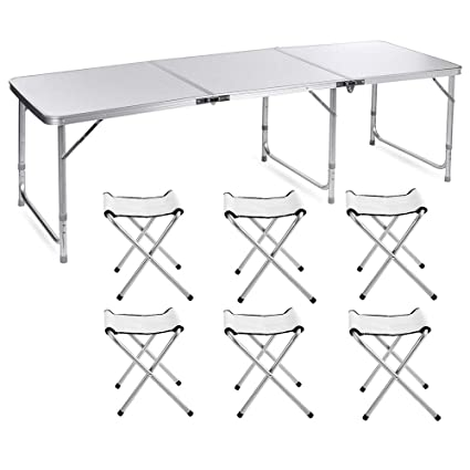 Superb Lennov 1 8M 6Ft Portable Outdoor Folding Camping Table With 6 Chairs Height Adjustable Heavy Duty Banquet Picnic Party Garden Foldable Bbq Table Spiritservingveterans Wood Chair Design Ideas Spiritservingveteransorg