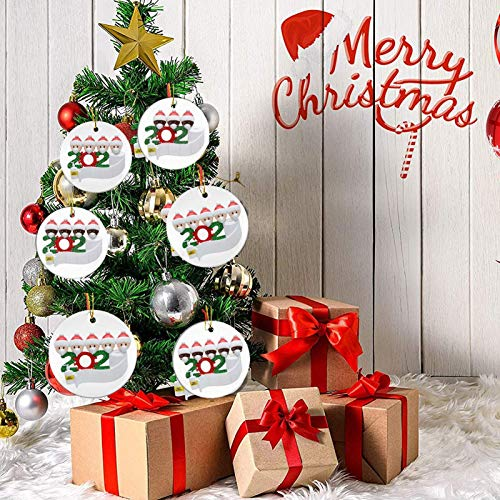 Christmas Ornaments 2020 Xmas Decorative Ornament DIY Quarantine Family Personalized Name with Face Mask Hand Sanitizer Toilet Paper, Creative Gifts for Family Customized (Family of 3 --White, 1 Pcs)