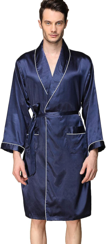 Haseil Men's Satin Kimono Robe Spring Summer Shawl Collar Sleepwear Classic Silk Bathrobes