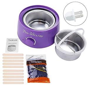 SunshineFace Wax Bean Heater Machine Complete Waxing Kit Heater Wax Pot Hair Removal Hot Wax Bean Stick Machine Kit