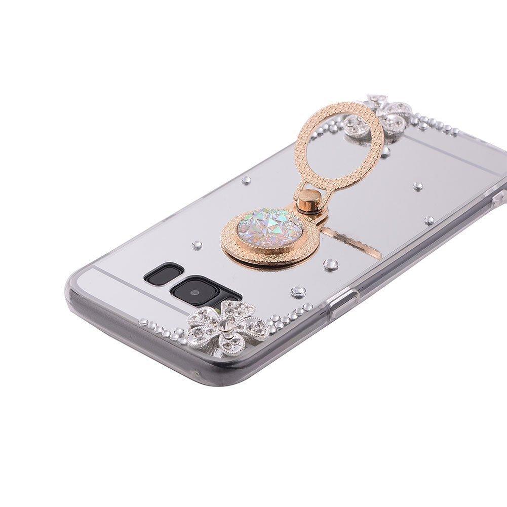 PHEZEN Galaxy S8 Plus Case Samsung Galaxy S8 Plus Glitter Case Bling Rhinestone Rose Gold Mirror Makeup Case Ring Holder Stand Diamond Crystal Flower Protective TPU Case for Samsung Galaxy S8 Plus