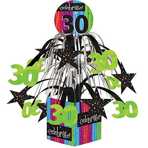 Creative Converting Party Decoration Metallic Foil Cascading Centerpiece, Milestone Celebrations 30th | (2-Pack)