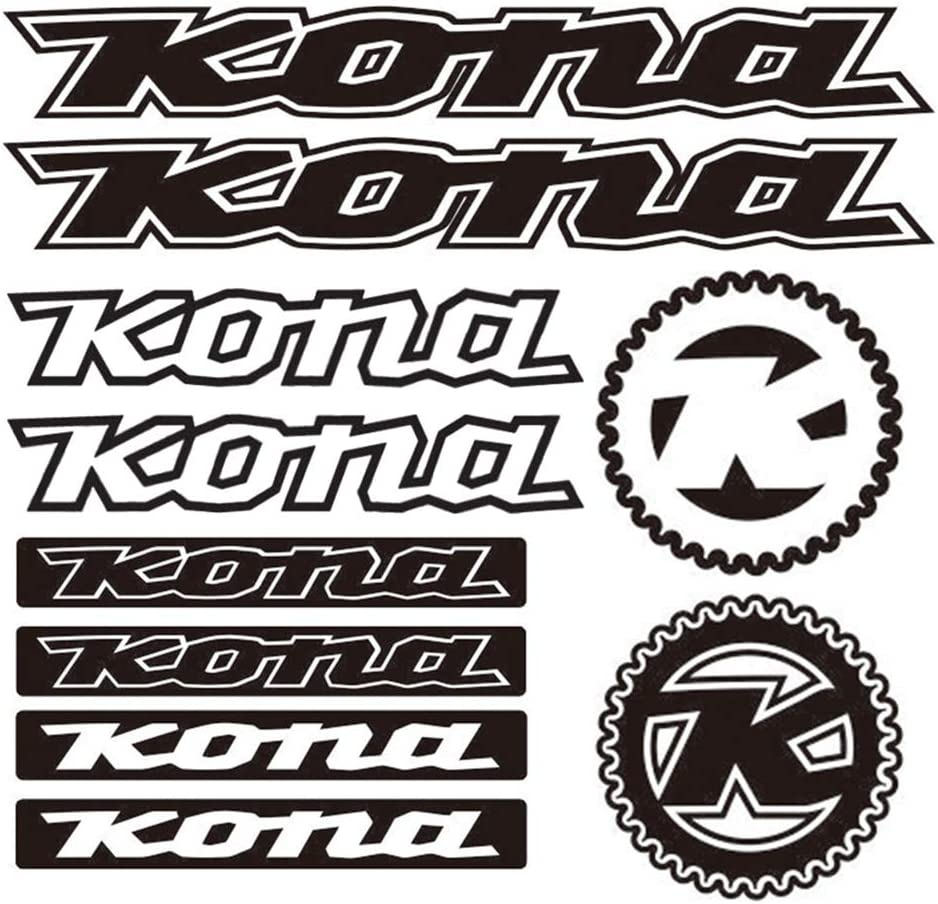 For Kona Vinyl Stickers Sheet Bike Frame Cycle Cycling Bicycle Graphic Set Mtb Road BLACK