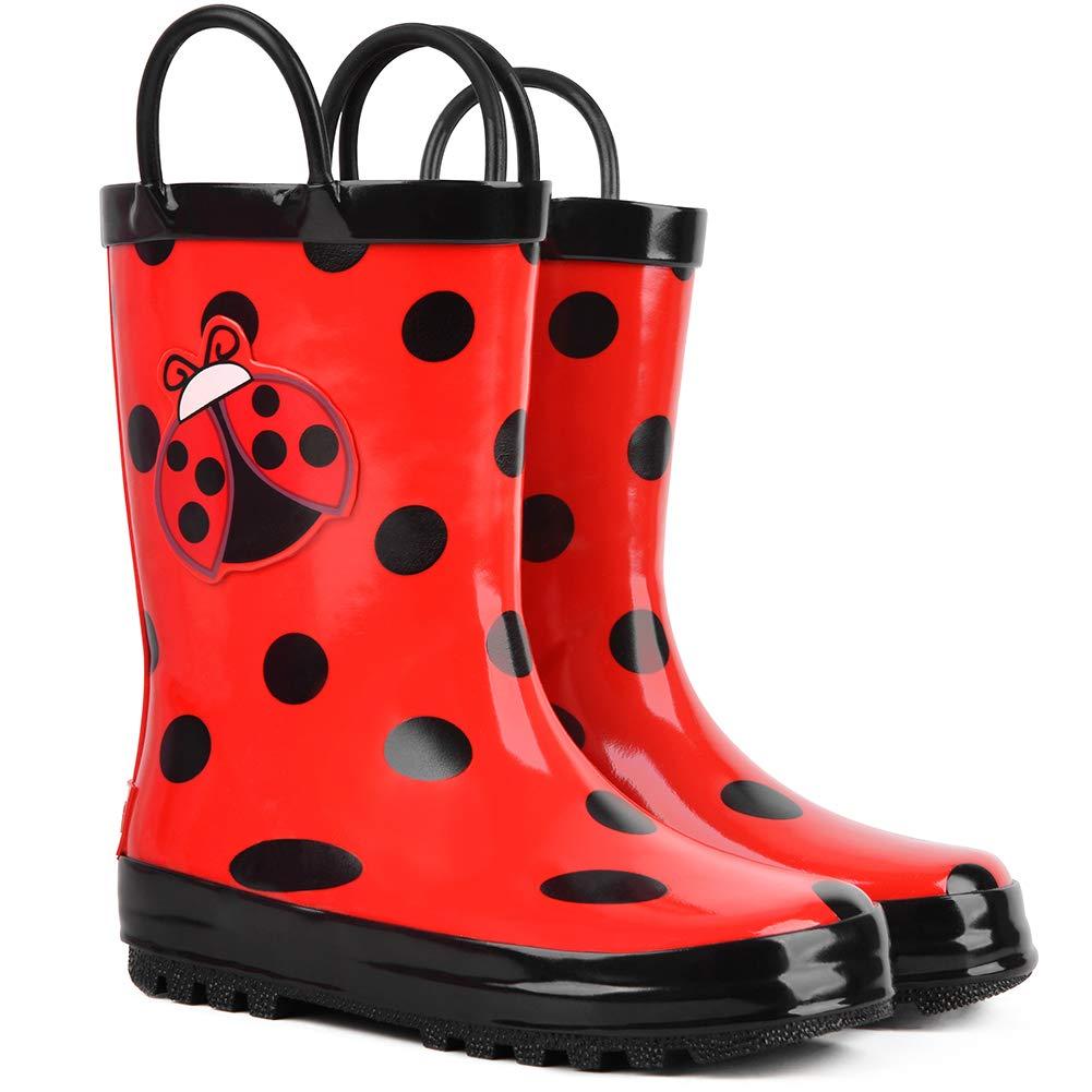 landchief Girls Kids Rain Boots Girls Ladybug Boots Waterproof Toddler Rainboots with Easy-On Handles