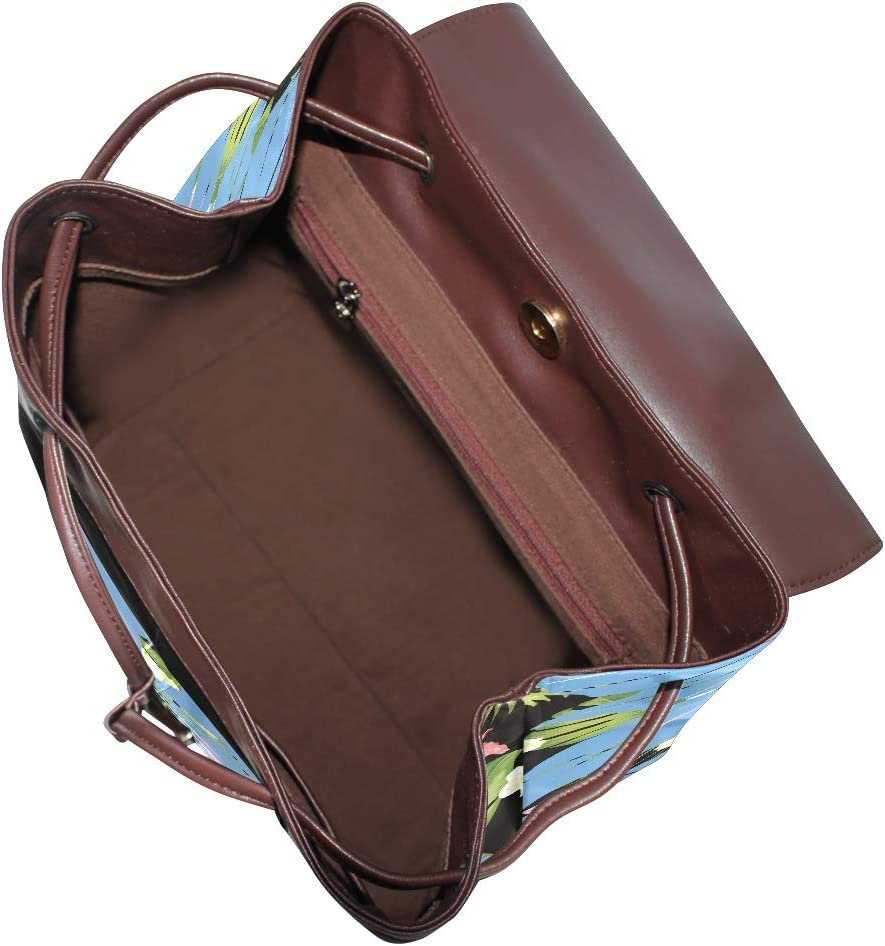 Russe leather backpack Blue Hibiscus Flower Petals Blcak Tropical Flowers And Jungle Palms Work//Travel//Leisure//school bag