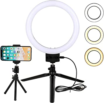 Neewer 9 Inches Ring Light with Mirror Dimmable Selfie LED Ring Light for Beauty Makeup Live Stream YouTube Video Photography with Adjustable Tripod Stand and Cell Phone Holder for iPhone Android