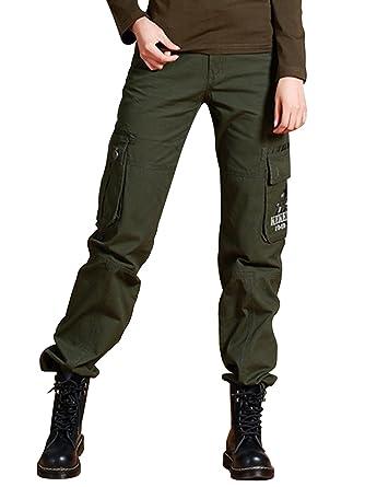e544019f AUSZOSLT Women Active Casual Camouflage Cargo Trousers Pants Straight Leg  Army Slack Pants at Amazon Women's Clothing store: