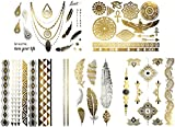Metallic Egyptian Tribal Temporary Tattoos - Over 50 Designs in Gold Silver and Black (6 Sheets) Terra Tattoos Azalea Collection