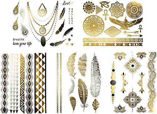 Premium Metallic Tattoos – Over 50+ Boho & Tribal Designs – Silver, Black, and Gold Temporary Metallic Tattoos - Fake Shimmer Jewelry - Feathers, Doves, Dreamcatcher, Arrows, Stars (Azalea (Tribal Print Tattoos)