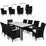 Rattan Garden Furniture Dining Table Set - 8 Seater Stackable Chairs - Black Cream - Opal Glass Rectangular Table Top