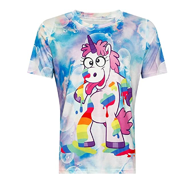 Amazon Com Angelteers Women S Unicorn T Shirts Tie Dye Short Sleeve