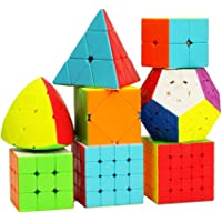 Assemble Speed 2X2 3x3 4x4 5x5 and Pyraminx Pyramid Triangle Puzzle Cubes Combo (B - Pack of 8 Cube)