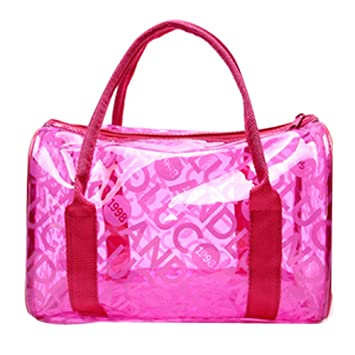 a01be9d6b5fa Waterproof Transparent Sandy Beach Tote Storage Bag(Rose Red