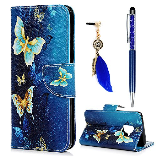 S9 Case, Galaxy S9 Case, Wallet Case Cover PU Leather Magnetic Flip Folio Bumper Gold Butterflies Credit Card Kickstand Pocket Protective Skin for Sumsung Galaxy S9 with Pen Dust Plug ZSTVIVA - Blue