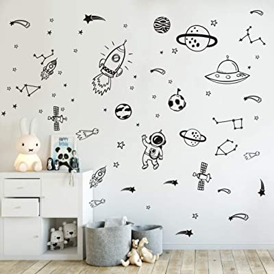 Wall Decor for Boys Room Art Outer Space Star Rockets Planets Stickers Removable Space Wall Decal for Children Bedroom Decoration (Black): Home & Kitchen
