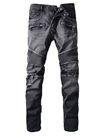 484d92c5daf1 Men's Distressed Knees Ripped Slim Fit Biker Jeans Zips Deco Black Grey at Amazon  Men's Clothing store: