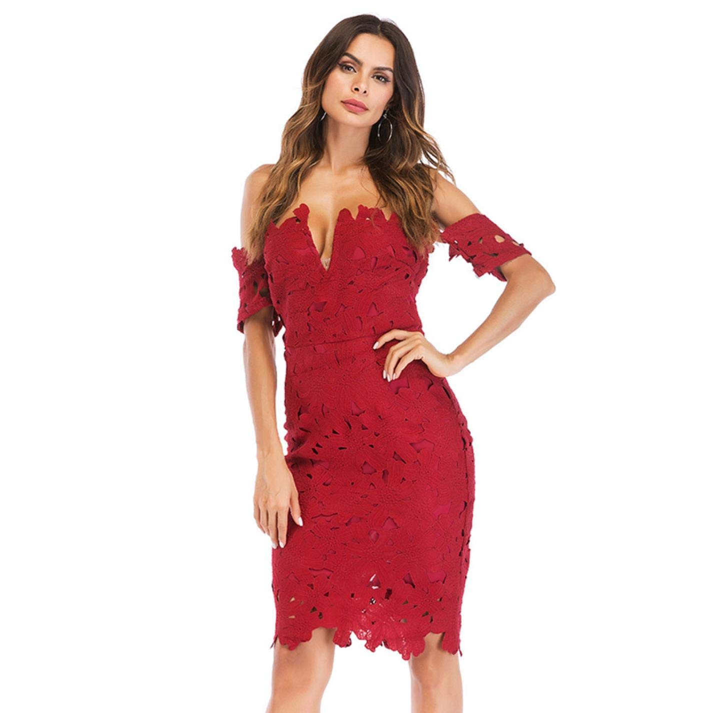 eb0429b7b5 Amazon.com  Lace Bodycon Red Wine Tube Top Dress V-Neck Halter Off Shoulder  Short  Clothing