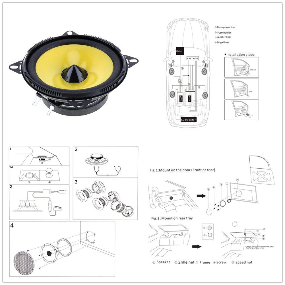 Pulusi 2pcs 4 inch 80W 2-Way Car Speaker Full Range Frequency Auto Stereo Audio Loud Speaker Automotive Automobile Loudspeaker