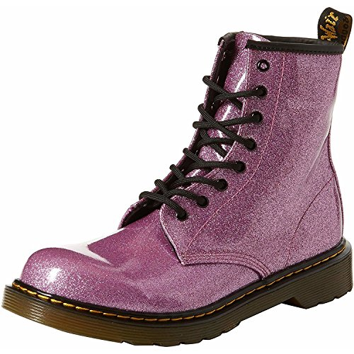 Dr. Martens Kid's Collection Girl's 1460 Patent Glitter Youth Delaney Boot (Big Kid) Dark Pink Coated Glitter 5 M UK -