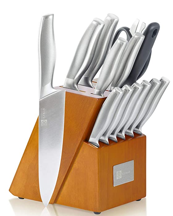 Knife Set Stainless Steel Knives Premium Non-slip Single Piece with Golden Oak Block Kitchen Scissors Sharpener Rod 14-piece