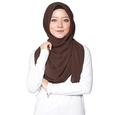 ❤️ SAFIYA - Hijab para mujeres musulmanas con velo I Hiyab pañuelo de cabeza turbante pashmina chal gorro islámico I Gasa muselina de seda I Marrón - 75 x 180cm: Ropa y accesorios
