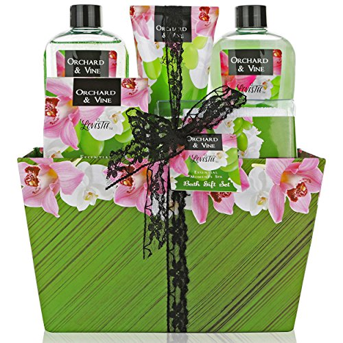 Mother's Day Gift, Bath and Body Gift Set, Aromatherapy Bath Gift Basket for Men/Woman with Natural Orchard & Vine Scent Spa Gift Basket Includes Shower Gel, Bubble Bath, Body Lotion, Bath Salt, Towel