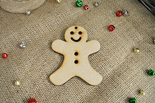 40mm 'Hanging Gingerbread Man Christmas Shape' Craft Shape, Craft Embellishments, Made from Medite Premier MDF by - Embellishments Gingerbread