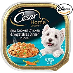 CESAR HOME DELIGHTS Slow Cooked Chicken & Vegetables Dinner Dog Food Trays 3.5 oz. (Pack of 24)
