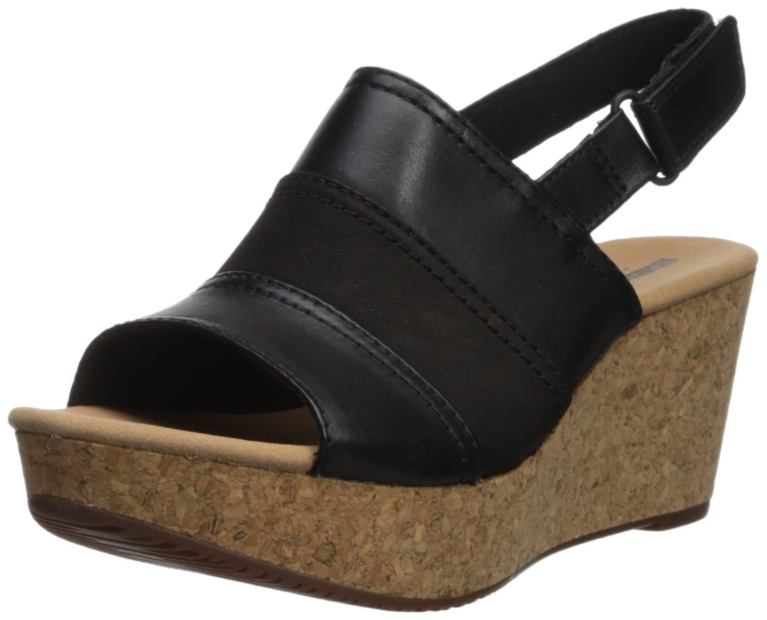 CLARKS Women's Annadel Janis Platform, Black Leather, 8 Medium US